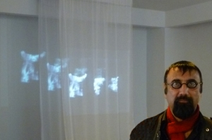 "Mumtaz Hussain at a video installation of ""Soul of Civilization"""